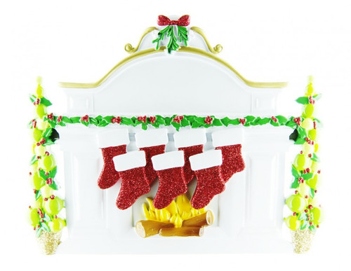 Free Personalization* Family of 7 Sparkling Red Stockings on Fireplace