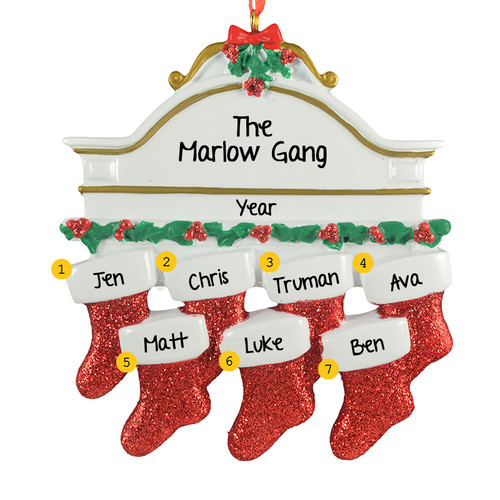 Free Personalization*  White Mantle with 7 glittering red stockings Ornament
