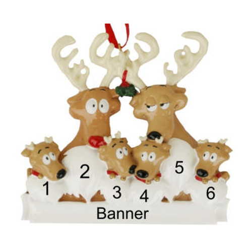 Free Personalization* Reindeer Family of 6