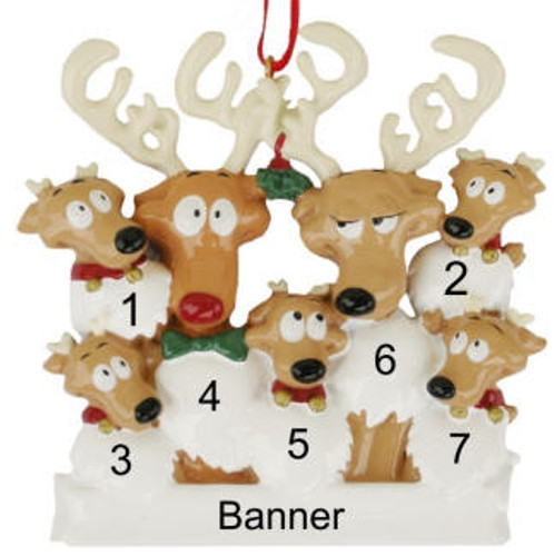 Free Personalization* Reindeer Family of 7