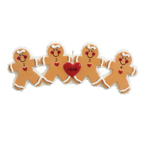 Free Personalization* 4 Gingerbread People with Red Heart Ornament