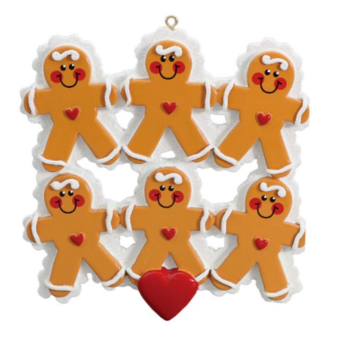 Free Personalization* 6 Gingerbread People with Red Heart Ornament