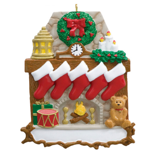 Free Personalization* Fireplace with 5 Red Stockings and Teddy Bear Ornament