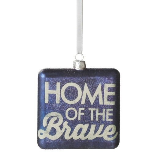 Home of the Brave Blue Square Glass and Glitter Ornament