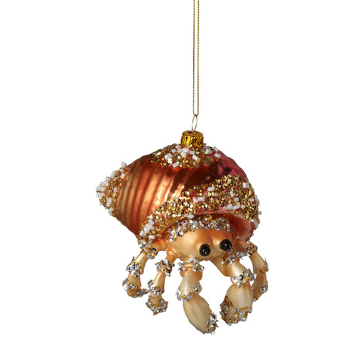 Diamond encrusted Brassy Red Crab Glass Christmas Ornament