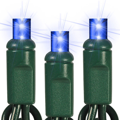25 FT - BLUE STRING LIGHTS - LED 5MM WIDE ANGLE (50 LEDS) -  ON GREEN WIRE