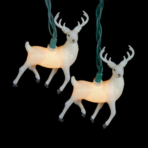 White Glittered Reindeer Novelty Christmas Lights - Green Wire