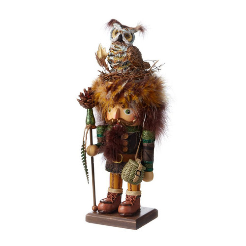 16 inch Hollywood Nutcracker Camouflage Woodsman with Owl Birds Nest Hat