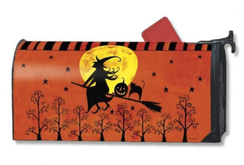 Witch on Broom Stick with Cat Halloween MailWraps® Magnetic Mailbox Cover
