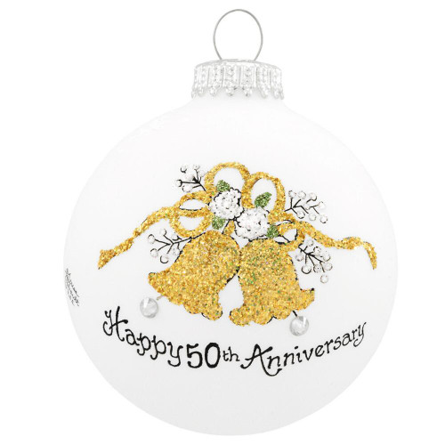 Happy 50th Anniversary Bells Christmas Glass Ornament