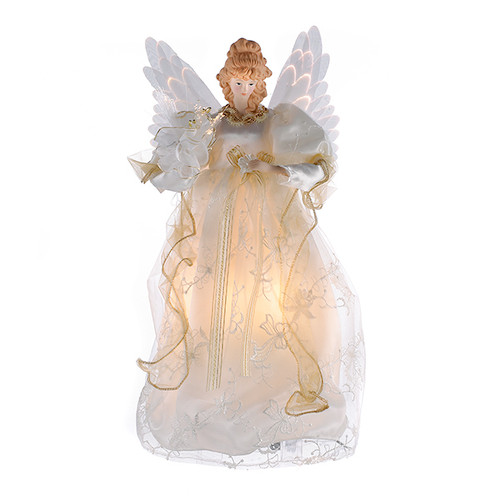 Kurt Adler 14-Inch Fiber Optic Ivory and Gold Animated Angel Tree Topper