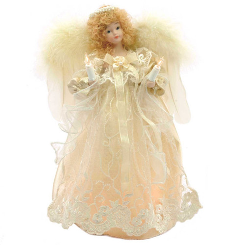 12in Lit White Lace and Curly Hair Angel Christmas Tree Topper