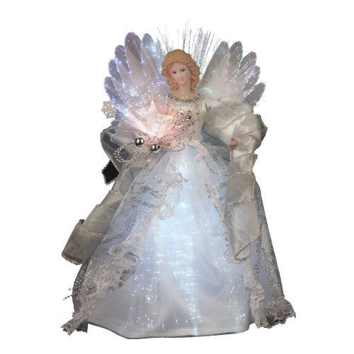 12 inch White Silk Fiber Optic LED Angel Christmas Tree topper