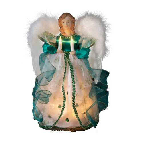 12in Lighted Green Irish Angel Christmas Tree topper