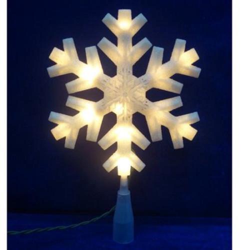 10 inch white iridescent star snowflake tree topper