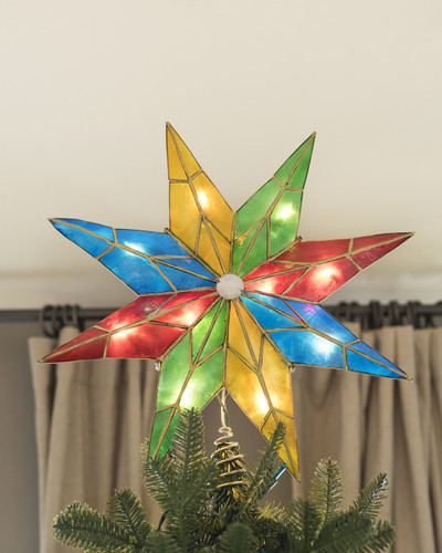 14 Inch Lighted 5-Point Capiz Multicolor Star Christmas Tree Topper