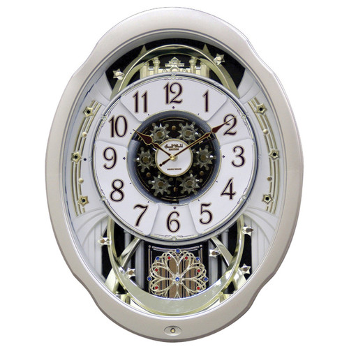 Musical Moving Silver and Gold Marvelous  RHYTHM CLOCK  with Swarovski Crystals **FREE SHIPPING**