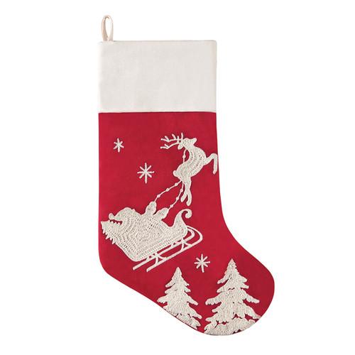 Flying Santa Sleigh Red Stocking