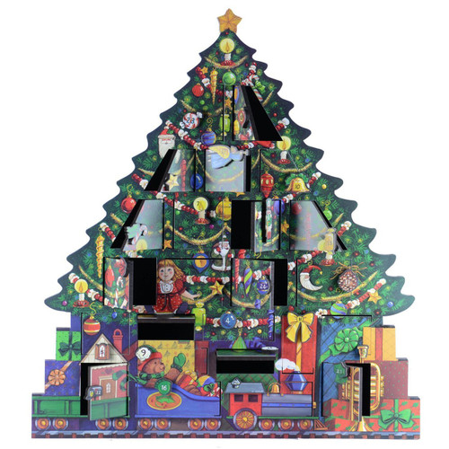 Byers' Choice Solid Wooden Christmas Tree  Advent Calendar