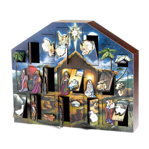 Byers' Choice Solid Wooden Nativity  Advent Calendar
