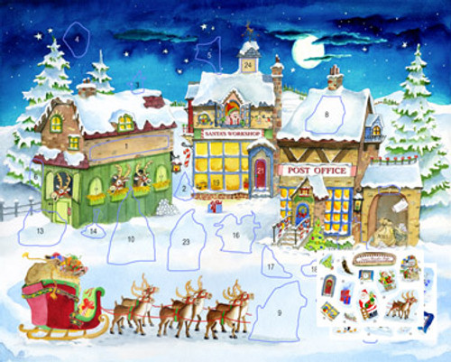 Santa's City Sticker Card Advent Calendar