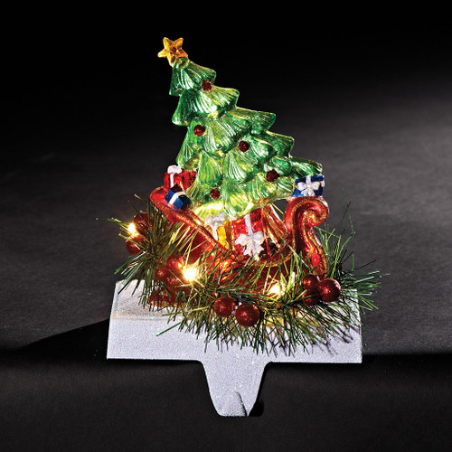 CHRISTMAS TREE IN SLEIGH  LED CHRISTMAS STOCKING HOLDER