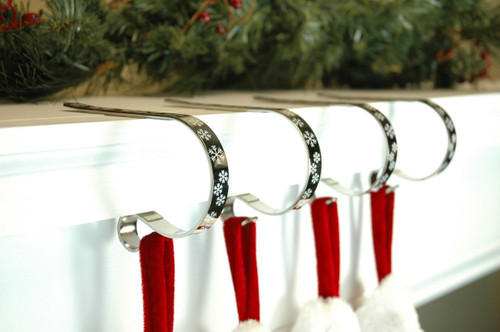 SNOWFLAKE DESIGN BRONZE CHRISTMAS STOCKING HOLDER - SET OF 4