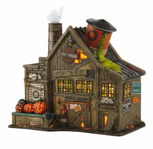 Department 56 -- Snow Village Halloween -- Harley-Davidson Ghost Riders' Club