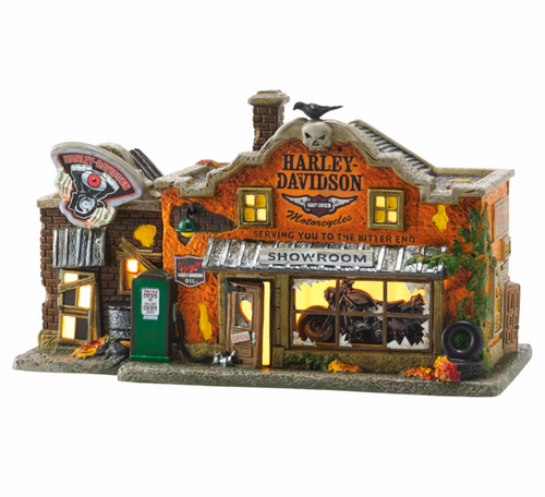 Department 56 - Snow Village Halloween- Harley-Davidson's Last Chance