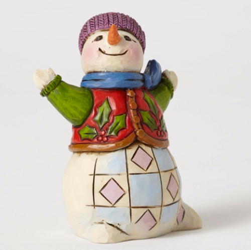 Jim Shore Heartwood Creek - Mini Snowman with Holly Vest and  Red Hat and Blue Scarf