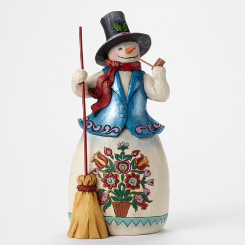 Jim Shore Heartwood Creek -Snowman with Pipe and Blue Coat and Top Hat