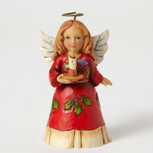 Jim Shore Heartwood Creek - 2016 Red and Holly Dress Angel, holding Candle figurine