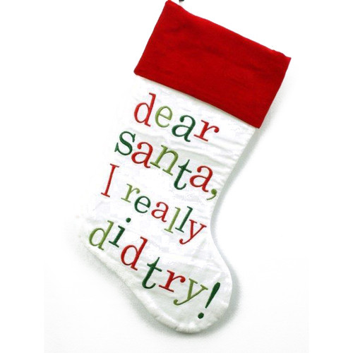 White and Red Trim Christmas Stocking - Dear Santa I Really Did try