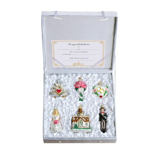 Old World Christmas Glass  - 6 Pc. Ornament Bride Gift Box Set