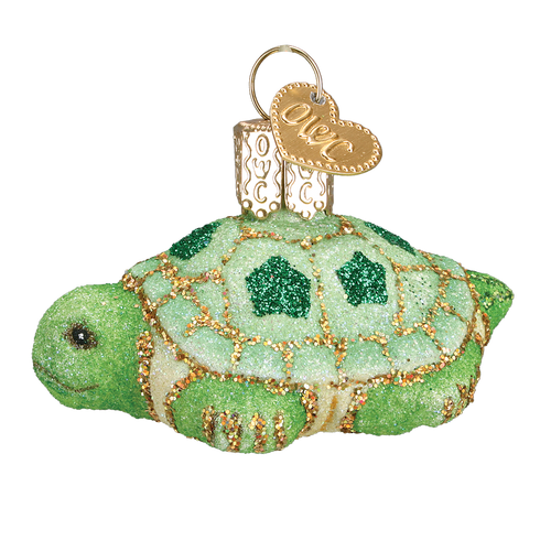 Old World Glass - Glistening Mini Turtle Ornament