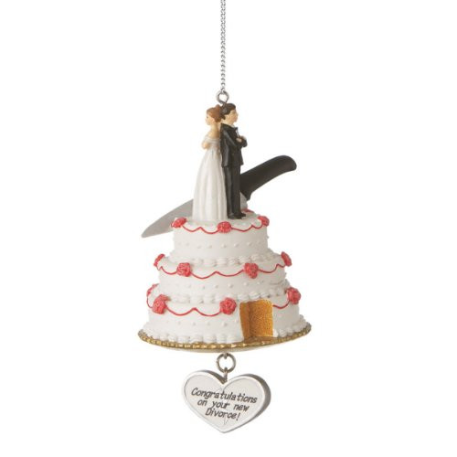 "Funny Wedding Cake with ""Congratulations on Your New Divorce"" Christmas Ornament"