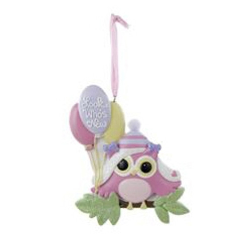 "Personalizable -  Baby's First - Pink ""LOOK WHO'S NEW"" OWL ORNAMENT"