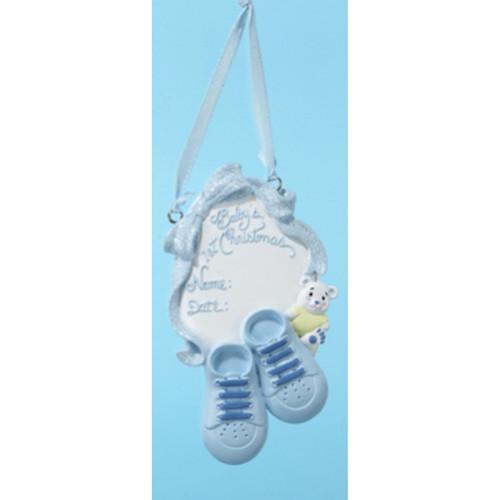 Personalizable -  BLUE BABYS 1ST SHOE  Ornament
