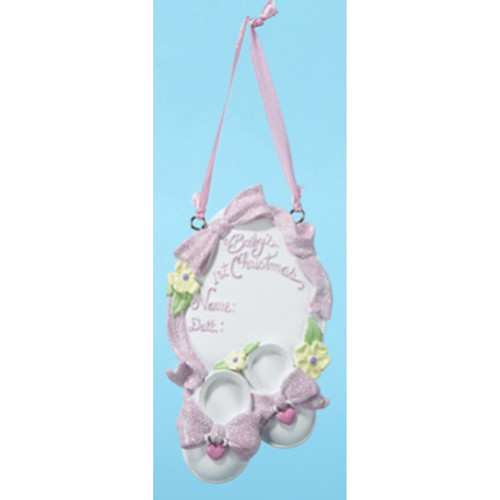 Personalizable -  PINK BABYS 1ST SHOE  Ornament