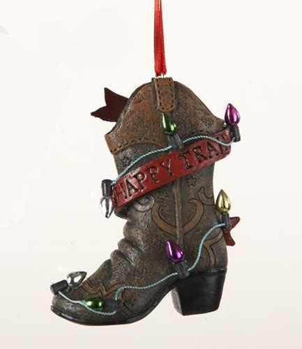 Happy Trails Cowboy Boot Ornament