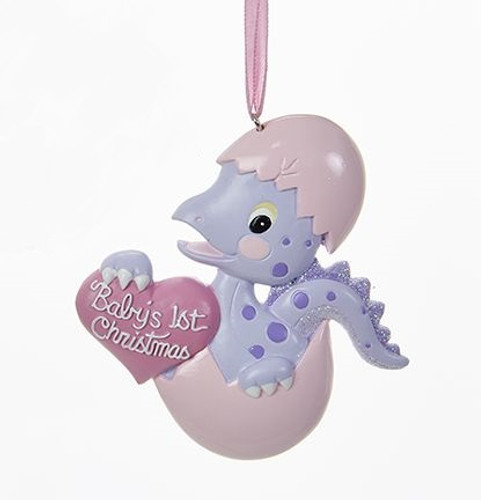 Personalizable -  Baby's First Christmas Dino Girl Ornament