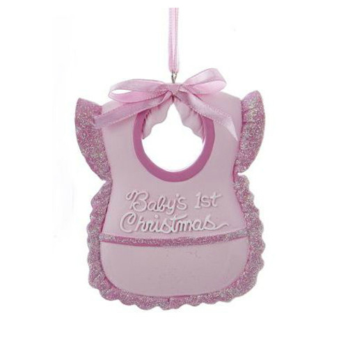 Personalizable -  Baby's First Christmas Bib Girl Ornament