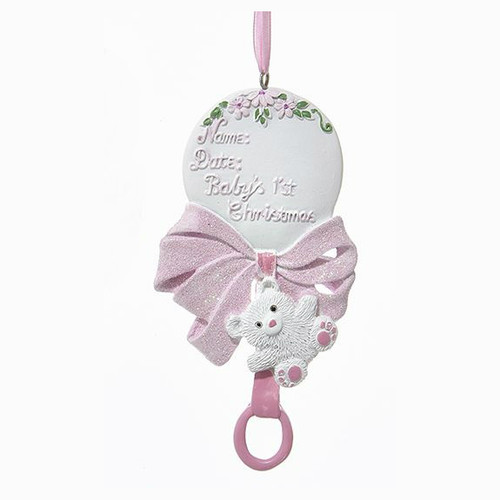 Personalizable -  Baby's First Christmas Rattle Girl Ornament