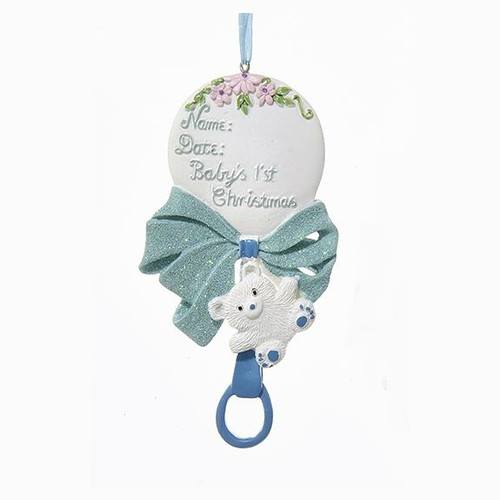 Personalizable -  Baby's First Christmas Rattle Boy Ornament