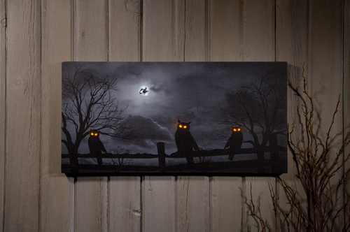 GLOWING OWL EYES, LIT HALLOWEEN NIGHT PICTURE - 12 X 24 inch