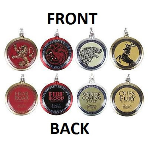 Game of Thrones House Ornament Set of 4