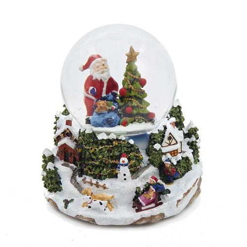 Santa with Tree LED Battery Operated Snow Globe