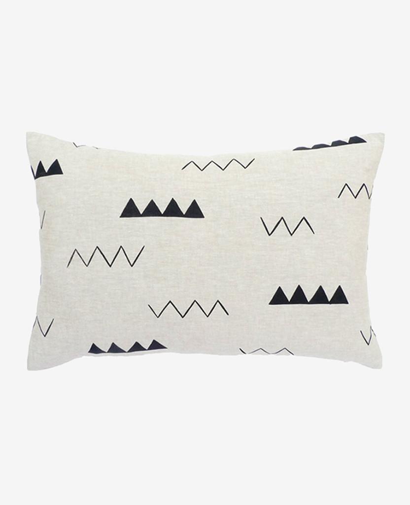 Oblong Linen Zig Zag Pillow
