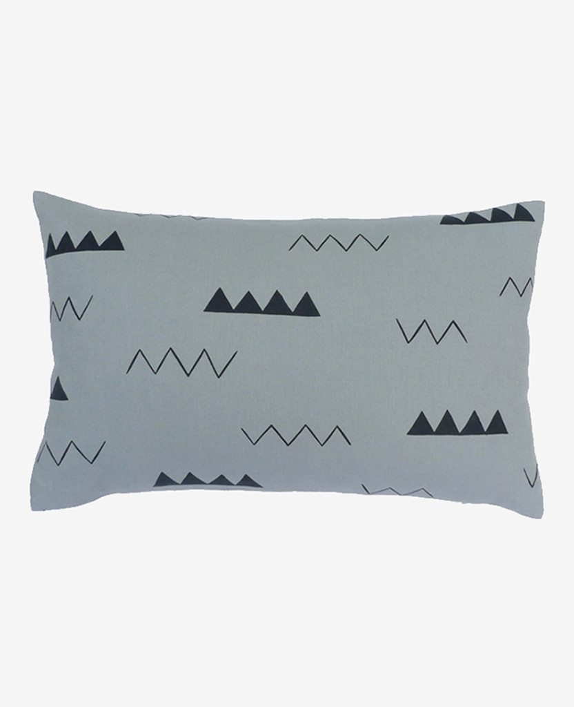 Smoke Grey Zig Zag Oblong Pillow