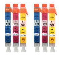 2 Compatible Sets of 3 C/M/Y Canon CLI-571 Printer Ink Cartridges (Colour Set)